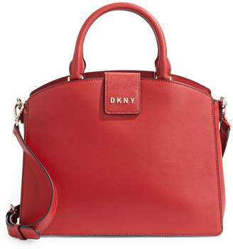DKNY Clara Medium Coated Leather Satchel