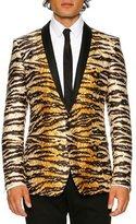 Dolce & Gabbana Tiger-Print Shawl-Collar Gold-Fit Evening Jacket, White/Black/Gold