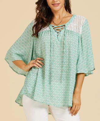 Suzanne Betro Weekend Women's Tunics 102GREEN/WHT - Green & White Geometric Lace-Up Front Crochet-Detail Tunic - Women