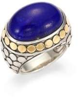 John Hardy Batu Dot Lapis Lazuli, 18K Yellow Gold& Sterling Silver Dome Ring