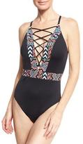 LaBlanca La Blanca La Azteca Plunging Lace-Up One-Piece Swimsuit, Black Multicolor