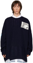 Raf Simons Navy Oversized Patch Sweater