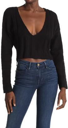 Hyfve Ribbed V-Neck Cropped Sweater