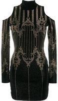 Balmain open shoulder studded dress - women - Cotton/Spandex/Elastane/glass/metal - 38