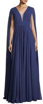 Faviana V-Neck Sheer Cape Evening Gown