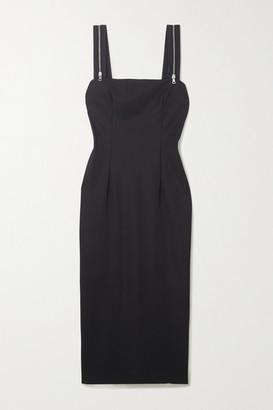 MARCIA Tarot Zip-detailed Stretch-jersey Midi Dress - Black
