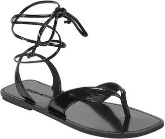 Sigerson Morrison Noah Flat Ankle-Tie Thong Sandals