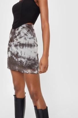 Nasty Gal Womens Mesh Tie Dye Print Mini Skirt - Beige - 6
