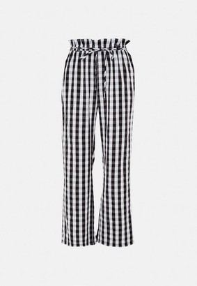 Missguided Black Gingham Co Ord Wide Leg Pants