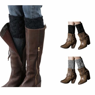 Youga Boot Cuffs - Women Winter Leg Warmers Twist knitted Boot Socks