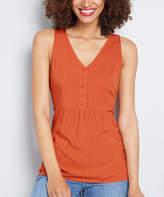 ModCloth Women's Blouses - Rust Tie-Back Button-Front V-Neck Tank - Women, Juniors & Plus