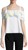 Maiyet Ruffled Cold-Shoulder Top, White/Yellow