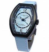 Montres de Luxe Women's EXL 9201 Estremo Lady Black PVD Light Blue Sunray Dial Leather Luminous Date Watch