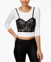 Material Girl Juniors' Cropped T-Shirt & Lace Bralette Combo Top