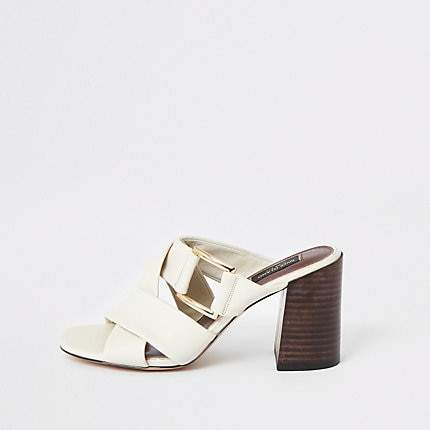 River Island White leather wide fit sandals