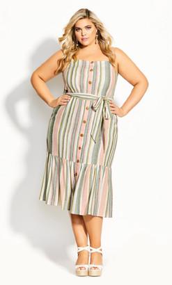 City Chic Wild Stripe Dress - natural
