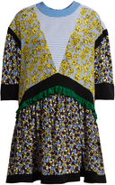 MSGM Floral-print contrast-panel silk dress