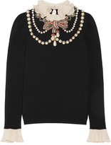 Gucci Ruffle-trimmed Embellished Wool-blend Sweater - Black