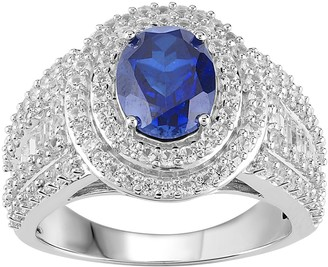 Sterling Silver Lab-Created Blue & White Sapphire Tiered Halo Ring