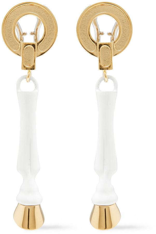 Burberry Gold-tone Enamel Clip Earrings