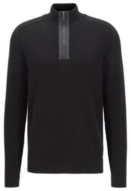 HUGO BOSS - Regular Fit Sweater In Organic Cotton Blend - Black