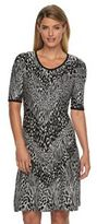 Dana Buchman Women's Animal Fit & Flare Sweaterdress