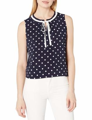 Tommy Hilfiger Women's Polka Dot Contrast Tie Neck Sleeveless Top