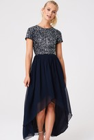 Little Mistress Elise Navy Hand Embellished Sequin Hi-Low Prom Dress