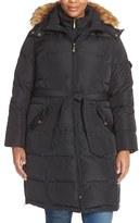 Ellen Tracy Belted Down Coat with Detachable Faux Fur Trim Hood (Plus Size)