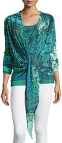 Fuzzi 3/4-Sleeve Mosaic-Print Tie-Front Cardigan, Turquoise