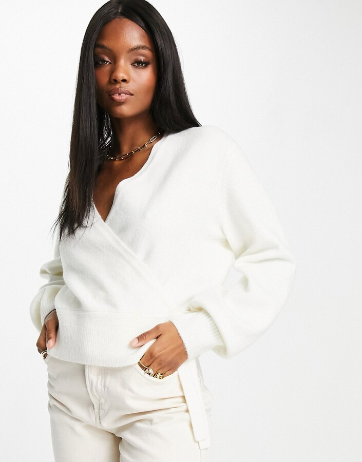 & Other Stories recycled wrap cardigan in white