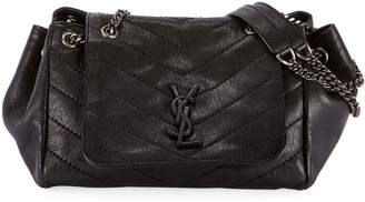 Saint Laurent Nolita Medium Vintage Lambskin Leather Flap-Top Shoulder Bag, Black Hardware