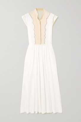Chloé Silk Crepe De Chine And Linen Midi Dress - White