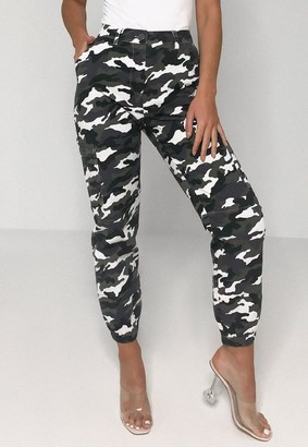 Missguided Petite Gray Camo High Waisted Cargo Pants