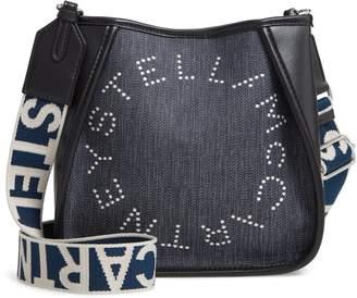Stella McCartney Mini Embroidered Logo Denim & Faux Leather Crossbody Bag