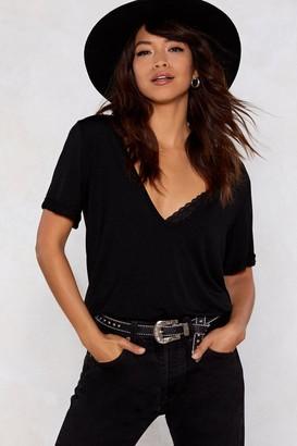 Nasty Gal Womens Riley Scoop Tee - Black - S/M, Black