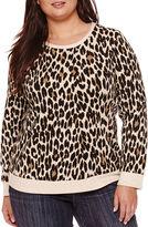Liz Claiborne Long-Sleeve Leopard Print Pullover Top - Plus