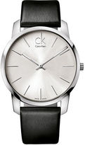 Calvin Klein City Stainless Steel Black Leather Strap Watch, K2G211C6