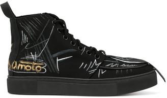 Yohji Yamamoto graffiti high-top sneakers