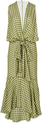 Silvia Tcherassi Gina Tie-Front Gingham Chiffon Midi Dress