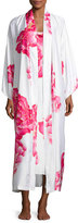 Natori Peony Long Satin Robe, Multi Pattern