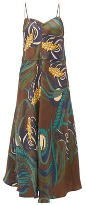 La Prestic Ouiston Floral-print Silk-twill Midi Dress - Womens - Brown Multi