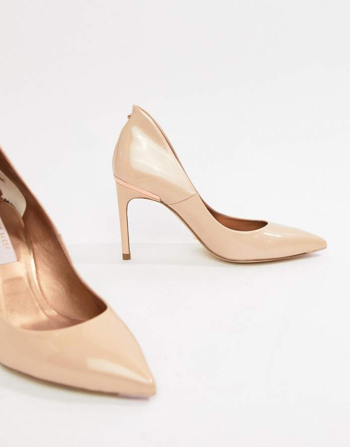 Ted Baker Savio nude patent leather pointed pumps