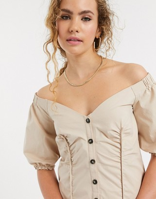 Lost Ink bardot button front mini dress
