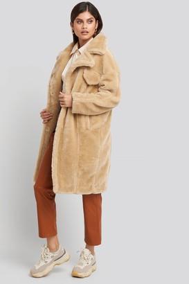 NA-KD Long Teddy Fur Jacket Beige