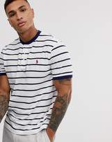 Polo Ralph Lauren player logo stripe pique grandad t-shirt in white/navy