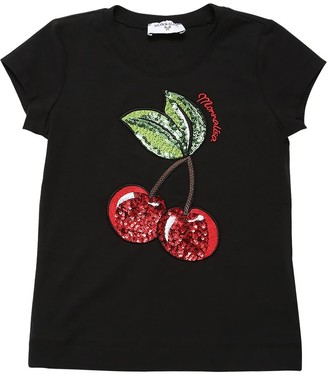 MonnaLisa Sequined Cherries Cotton Jersey T-shirt