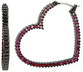 Betsey Johnson Pave Heart Hoop Statement Earrings