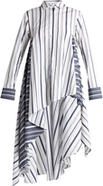 Palmer Harding PALMER/HARDING Striped waterfall-hem cotton-poplin shirt