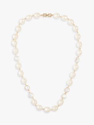 Susan Caplan Vintage Givenchy 22ct Gold Plated Faux Pearl and Swarovski Crystal Necklace, Gold/White